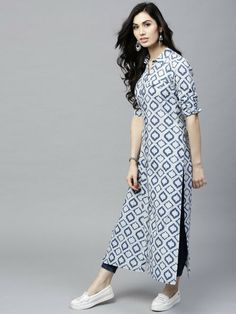 Style tip : show your love for prints with this sassy kurta. A pair of white leggings will go well with this kurta. Complete your look with a pair of wedges and minimal accessories. Look classy and stylish in this piece and revel in the comfort of the soft fabric. | eBay!