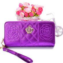 Nueva Corona de La Moda niñas bolso bordado bolsa de embrague Diseñador de la tarjeta billeteras Cuero de LA PU del color del caramelo de las mujeres de Doble cremallera cartera(China (Mainland))
