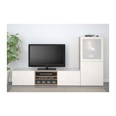 BESTÅ Agenc rangt télé/vitrines - effet noyer teinté gris/Selsviken verre dépoli/blanc ultrabrillant, glissière tiroir, ouv par pression - IKEA
