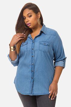 Plus Size Spencer Denim Shirt Trendy Plus Size, Plus Size Tops, Fashion To Figure, Denim Shirt, Plus Size Outfits, Shirt Style, Tees, Shirts, Sweaters