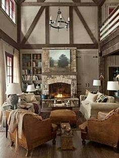 builtin bookcases matching stone in fireplace