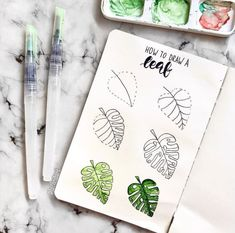 Drawings Easy Things to Draw in Bullet Journal - Leaf Drawing - Here is a list of 40 simple things to draw for your bullet journal. The perfect way to liven up your bullet journal is with art and little doodles. Bullet Journal Inspo, Bullet Journal Leaves, Bullet Journal Aesthetic, Bullet Journal Notebook, Bullet Journal Ideas Pages, Back To School Bullet Journal, Bullet Journals, Kalender Design, Leaf Drawing