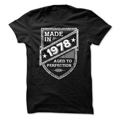 Visit site to get more funny tee shirts for men, mens funny t shirts, funny shirts for men, mens funny t shirts, mens funny t shirts. MADE IN 1976 AGED TO PERFECTION CREST Cool Tees, Cool Shirts, Funny Shirts, Tee Shirts, Crazy Shirts, Denim Shirts, Retro Shirts, Slogan Tee, Dress Shirts