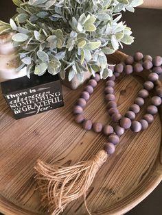 Love Beads Gray Wood Bead Garland Boho style Garland with Tassel Farmhouse Decor Farmhouse Style Farmhouse Beach Decor Wood Bead Garland, Tassel Garland, Tassels, Jute, Decorative Beads, Jewelry Making Beads, Beading Tutorials, Loom Beading, How To Make Beads