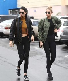 Photo via: Harper's Bazaar Kendall Jenner and Gigi Hadid show us the model rendition of the athleisure trend. Their bomber jackets, black leggings and sneakers are a foolproof formula for style. Mode Outfits, Fall Outfits, Casual Outfits, Fashion Outfits, Urban Chic Outfits, Outfits 2016, Teen Outfits, Fashion Trends, Fashion Blogs