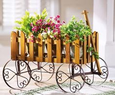 Antique Wooden Wagon W/ Scrolled Metal Wheels Wooden Wagon, Baby Buggy, Baby Carriage, Trees And Shrubs, Container Gardening, Vintage Fashion, Nursery, Candles, Display