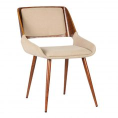 Panda Mid-Century Dining Chair in Walnut Finish and Beige Fabric, ,