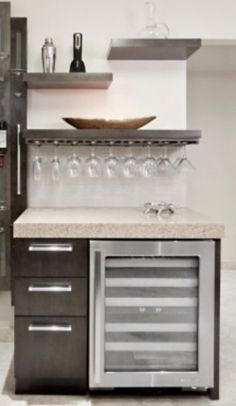 Converting kitchen desk into bar.