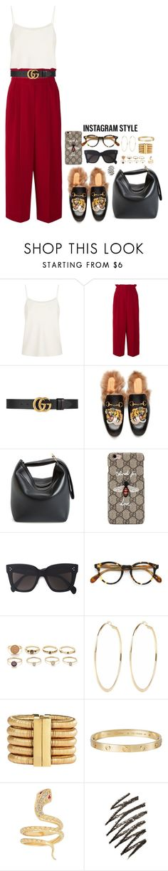 """""""Sans titre #933"""" by janewithouttarzan ❤ liked on Polyvore featuring The Row, Sonia Rykiel, Gucci, Victoria Beckham, CÉLINE, Oliver Peoples, Forever 21, River Island, Balmain and Cartier"""