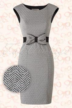 f04a05a5b041b2 50s Show Me The Way To Go Home Artful Bow Dress in Grey. Witte Jurk KantoorjurkenJurken ...