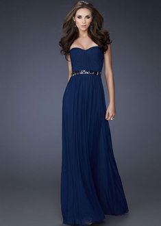 Stunning navy blue prom dress with sequin strapless bodice and ...