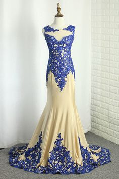 2019 Scoop Spandex Prom Dresses Mermaid With Applique Sweep Train, SJS, This dress could be custom made, there are no extra cost to do custom size and color. Classy Prom Dresses, High Low Prom Dresses, Prom Dresses For Teens, Unique Prom Dresses, Plus Size Prom Dresses, Beautiful Prom Dresses, Popular Dresses, Junior Bridesmaid Dresses, Prom Dresses Blue