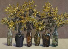 Chinese bell , Forsythia - Lucy Culliton Australian,b.1966- oil on board