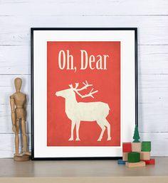 Retro print poster deer reindeer Scandinavian design by EmuDesigns, $19.00