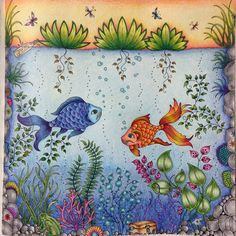Mais um! Misto de fundo do mar com lagoa, pode ser?  #johannabasford #jardimsecreto #secretgarden #staedtler #livrodecolorirparaadultos #fabercastell #enchantedforest #minha_florestaencantada #jardimsecretoinspire #jardimsecretofans #viciodecolorir #terapianojardim
