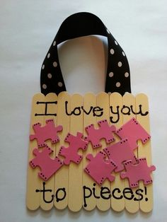 """Good idea for Mother's Day door decoration.  It can say """"I Love My Mommy to Pieces!"""" Put my kids name on the puzzle pieces"""