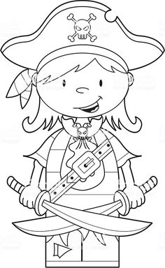 Colour In Pirate Girl with Swords stock vector art 8601349 - iStock Pirate Coloring Pages, Coloring Book Pages, Coloring Pages For Kids, Coloring Sheets, Pirate Theme, Pirate Birthday, Pirate Activities, Pirate Sword, School Themes