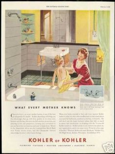 Kohler advert, 1940s. I like the use of rounded corner shelves to the side of the big mirror.
