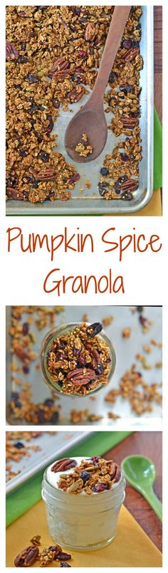 The best ever healthy pumpkin granola with cinnamon, pecans, and cranberries.
