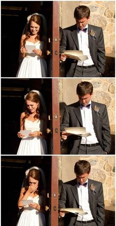 Bride and Groom Reading Each Others' Wedding Vows