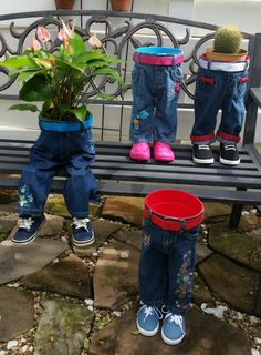 Planters using old jeans
