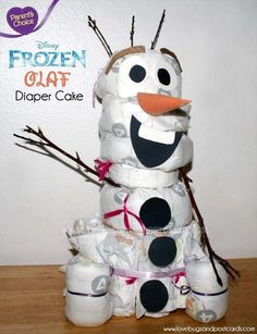 Frozen Olaf Diaper Cake - 82 Diaper Cake Ideas That Are Easy to Make