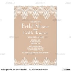 Oh that art deco style this elegant art deco wedding shower vintage 20s art deco bridal shower invitation filmwisefo Image collections