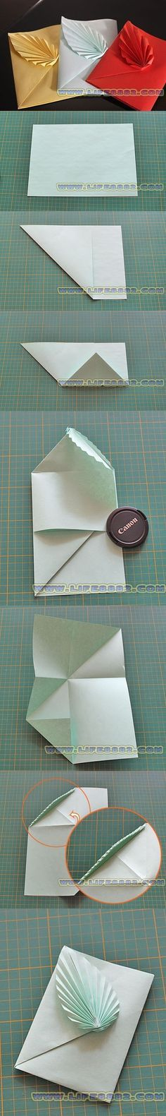 This is a special project to fold an envelope with leaf with only a piece of paper, so amazing that I'd love to give it a try with kids. Origami Paper Folding, Origami Envelope, Origami And Kirigami, Gift Envelope, Diy Origami, Origami Tutorial, Envelope Tutorial, Origami Ideas, Hobbies And Crafts