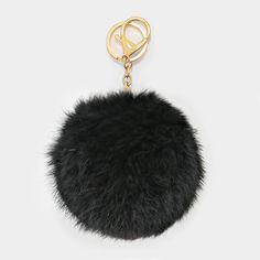 Large Rabbit Fur Pom Pom Keychain, Key Ring Bag Pendant Accessory - Black