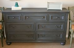 """Distressed gray/blueish dresser by Analia Pastori Available at """"The Workshop"""" is located at 4060 Morena Blvd. Suite H San Diego, CA"""