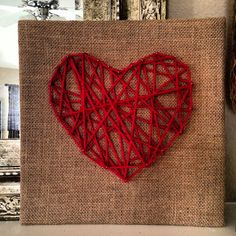 "Valentine's DIY  Yarn Heart on 12"", burlap covered cork square. The perfect homemade gift!"