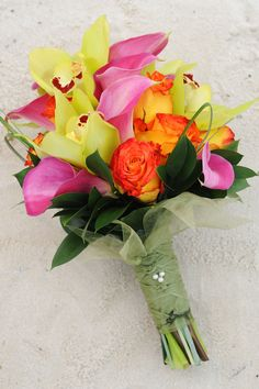 Tropical bouquet with a Hidden Mickey on the wrapped stems from Disney Floral Tiki Wedding, Hawaii Wedding, Wedding Ideas, Wedding Venues, Tropical Centerpieces, Orchid Centerpieces, Bride Bouquets, Floral Bouquets, Boutonnieres