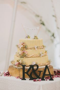 Rustic Bunting Flowers Log Cake Home Made Rustic Garden Party Wedding http://www.mckinley-rodgers.com/