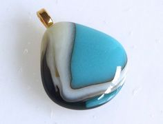 Layered Turquoise and French Vanilla Fused Glass Pendant