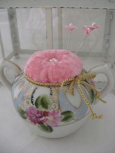 #recycle some old china like this sugar dish into a unique #Pincushion, would make a unique gift for your #sewing friends.