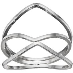 LC Lauren Conrad Geometric Crisscross Ring (Grey) ($11) ❤ liked on Polyvore featuring jewelry, rings, grey, grey jewelry, gray jewelry, geometric ring, lc lauren conrad and criss cross ring