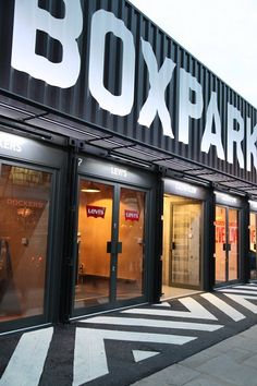 BOXPARK is a retail revolution – the world's first pop-up mall. BOXPARK is a fresh retail revolution from Roger Wade, creator of Boxfresh and fashion brand consultancy Brands Incorporated, in partnership with real estate developers Hammerson and Ballymore Gym Design, Garage Design, Retail Design, Container Cafe, Container Design, Container Buildings, Container Architecture, Gym Interior, Retail Interior