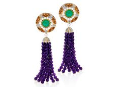 Abellán New York's detachable earrings are made in 18-karat yellow gold with diamonds, mandarin garnets, chrysoprase, amethysts and pearls