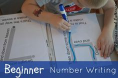 Beginner Number Writing. Includes reusable printables.
