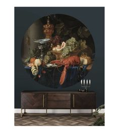 Lobster 014 Wallpaper Circle by KEK Amsterdam Modern Office Design, Modern Interior Design, Interior Office, Amsterdam Wallpaper, Diy Apartment Decor, Amazing Paintings, Gothic House, Burke Decor, Black Decor