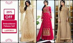 Embroidered Palazzo Suit  Amalgamate ethnicity with class in these #EmbroideredPalazzoSuits #Discount #Beautiful #Gorgeous #ShopOnline #Lashkaraa  Shop At: https://www.lashkaraa.com/hot-pink-embroidered-palazzo-suit.html Shop At: https://www.lashkaraa.com/beige-embroidered-palazzo-suit.html Shop At: https://www.lashkaraa.com/taupe-embroidered-palazzo-suit.html