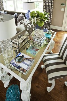 Parkwood Road Residence Living Room - eclectic - home office - minneapolis - by Martha O'Hara Interiors Desk In Living Room, Eclectic Living Room, Living Area, Living Rooms, Living Spaces, Office Decor, Home Office, Office Spaces, Office Ideas