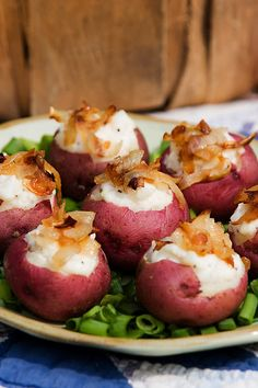 Stuffed Red Potatoes With Caramelized Onions. Red or white potatoes, make them a part of your fat burning food plan. When they look this great what's not to love. I'm sure they taste just as good.