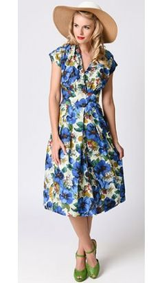 1930s Style Blue Blossoming Poppies Cap Sleeve Flora Swing Dress