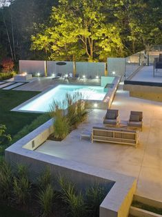 Modern Landscape Small Backyard Patio Design, I really like the lines in this design. Love the fencing idea behind the pool. Small Backyard Landscaping, Modern Backyard, Modern Landscaping, Sloped Backyard, Landscaping Ideas, Nice Backyard, Modern Fence, Modern Landscape Design, Modern Garden Design