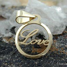 Anhänger, Kreis mit -Love-, 9Kt GOLD  fein ausgearbeiteter Laserschnitt mit Lasergravur matt -Love-