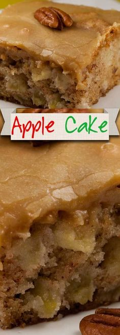 This apple cake is my favorite cake. I have tried many apple cakes over the years and this is a winner! So moist and dense, with a caramel taste. Apple Cake Recipes, Apple Cakes, Baking Recipes, Moist Apple Cake, Apple Sheet Cake Recipe, 8x8 Cake Recipe, Apple Sauce Cake, Apple Poke Cake, Gluten Free Apple Cake