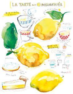 Kitchen art Lemon meringue pie recipe 8X10 print Food illustration French cake recipe Citrus Fruit Yellow kitchen decor. $25.00, via Etsy.