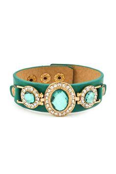 Crystal Ova Bracelet in Teal