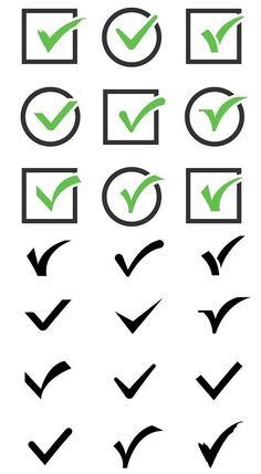 Confirm tick mark vector icons set